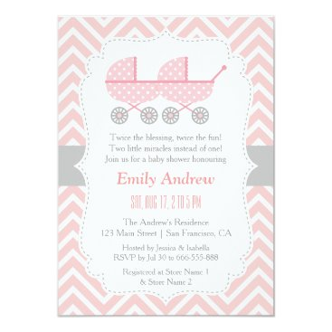Strollers Twin Girl Baby Shower Invitations