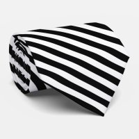 Stylish Black and White Striped Tie