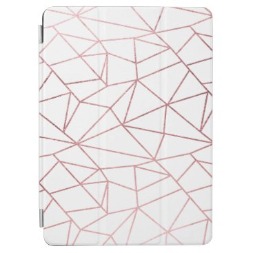 Stylish elegant faux rose gold geometrical iPad air cover