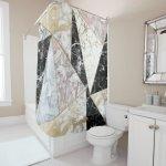 Stylish Faux Rose Gold Black White Luxury Marble Shower Curtain Zazzle Com