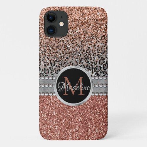 Stylish Girly Rose Gold Glitter Leopard  Monogram iPhone 11 Case