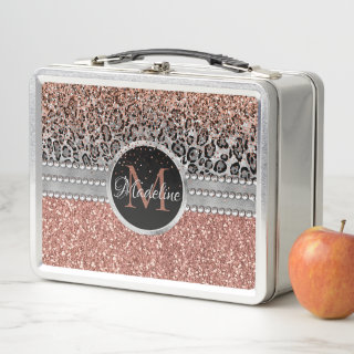 Stylish Girly Rose Gold Glitter Leopard Monogram Metal Lunch Box