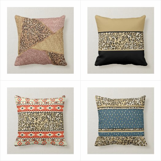 Stylish Girly Rose Gold Glitter Throw Pillows
