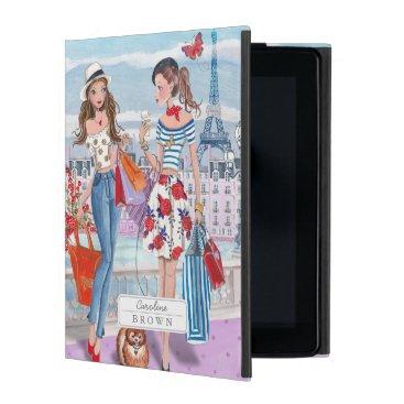 Stylish Lila Shopping Girls in Paris City iPad Cover