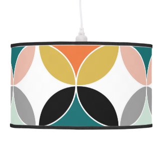 Stylish Modern Mid Century Circles Repeat Pattern Pendant Lamp