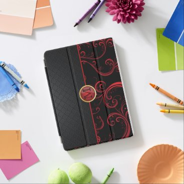 Stylish Monogram Red Florid iPad Air Cover
