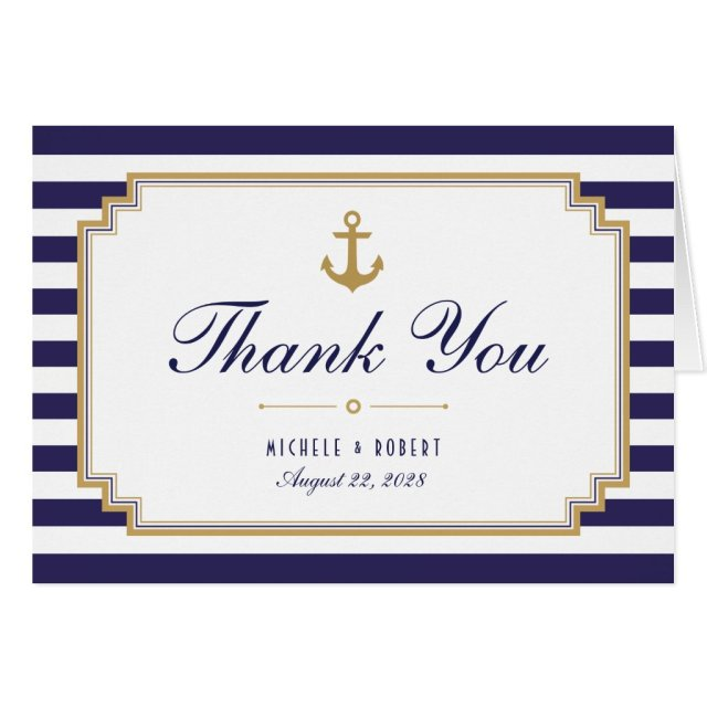 Stylish Nautical Striped Thank You Note Card