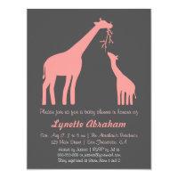 Stylish Pink Giraffe Baby Shower Invitations