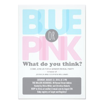 Stylish Pink or Blue Baby Gender Reveal Party Card