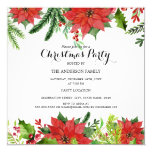 Stylish Red Floral Berry Christmas Party Invite