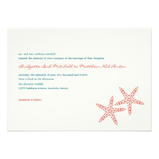 Stylish Starfish Wedding Invitations