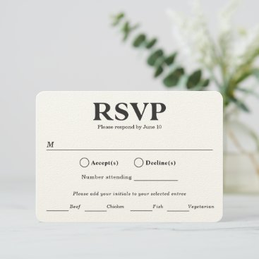 Stylish Typography. Black and white meal choice RSVP Card