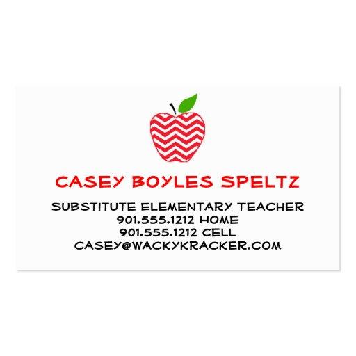 Substitute Teacher Business Cards  Zazzle