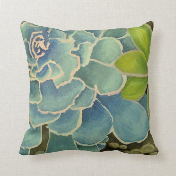 succulent art throw pillow 20x12 double
