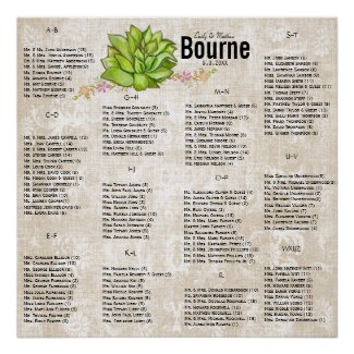 Succulent Wedding Seating Chart Posters