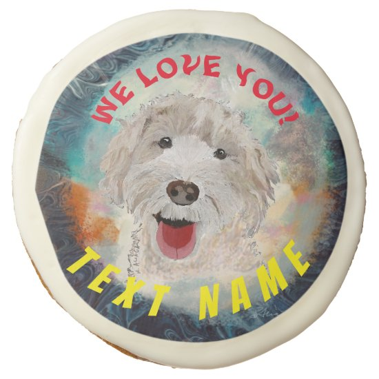 SUGAR COOKIE  Cute Labradoodle Dog & Text