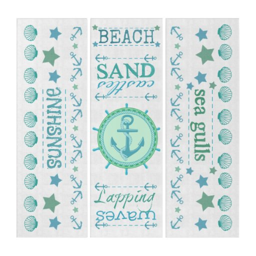 Summer Beach Days Nautical Triptych Wall Art
