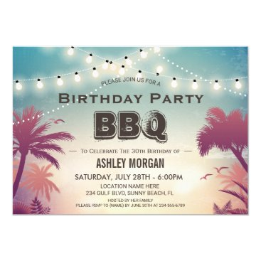 Summer Birthday BBQ Party Palm Tree String Lights Card