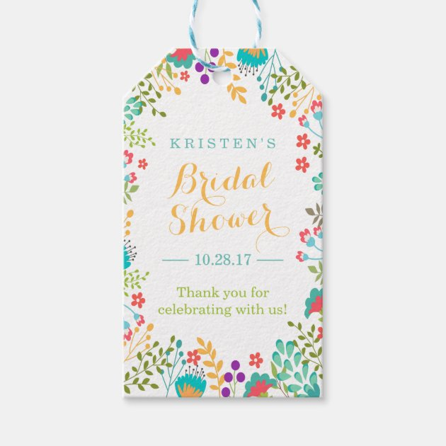 Summer Bright Cute Flowers Bridal Shower Thank You Gift