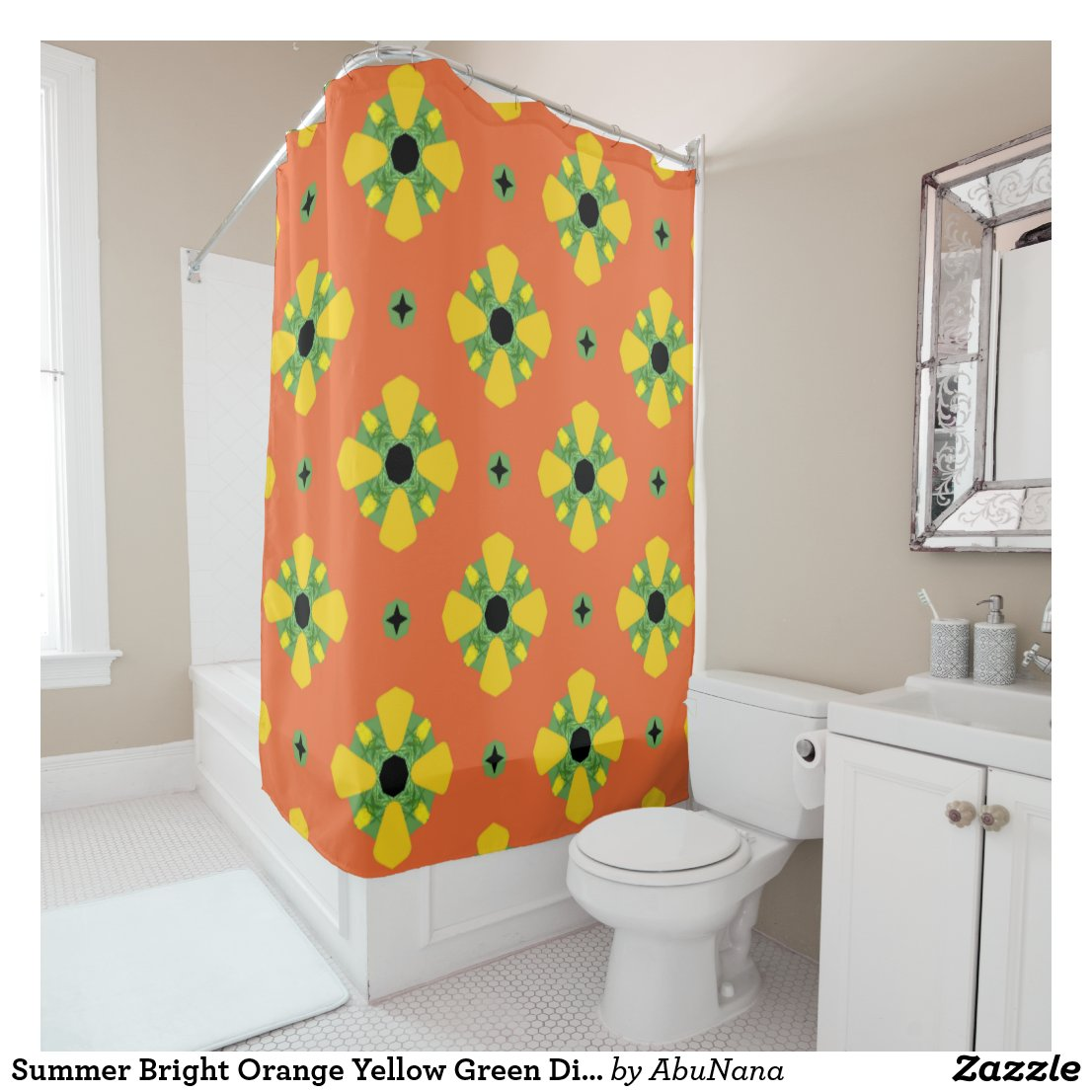 Summer Bright Orange Yellow Green Diamond Pattern  Shower Curtain