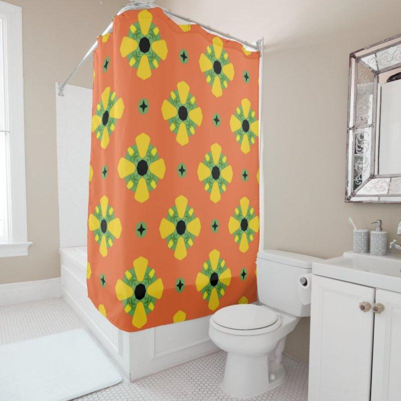 Summer Bright Orange Yellow Green Diamond Pattern  Shower Curtain