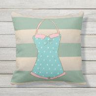 Summer Dreams, Cabana Stripes Outdoor Pillow