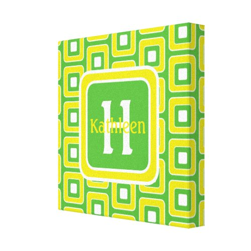 Summer Fun Green and Yellow Tiles Monogram Canvas Print