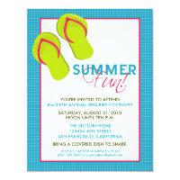 Summer Fun Picnic/BBQ Invitation (pink/aqua)