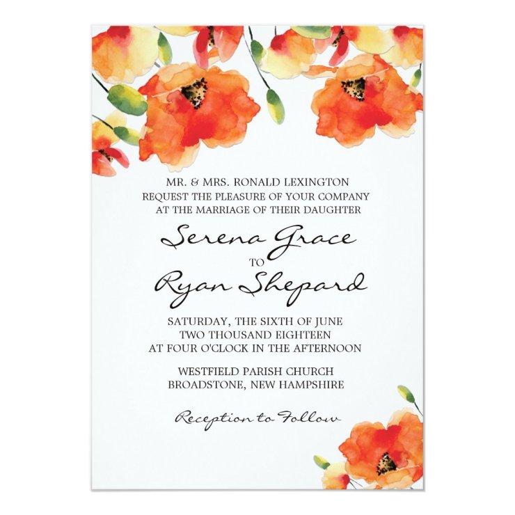 Summer Golden Poppy Wedding Card