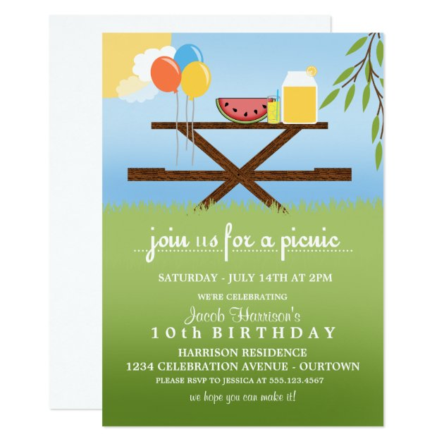 Summer Picnic Birthday Party Invitations Zazzle