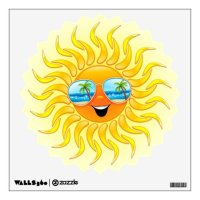 Summer Sun Cartoon with Sunglasses wall decal | Zazzle.com