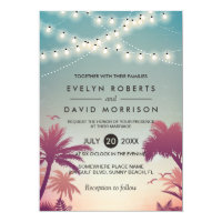 Summer Sunset Palms String Lights Outdoor Wedding Card