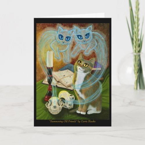 Summoning Old Friends, Ghost Cat Art Greeting Card