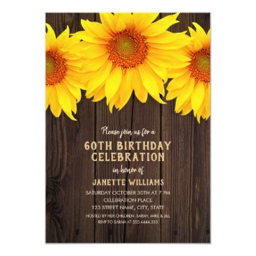 Sunflower 60th Birthday Party Rustic Wood Invitation