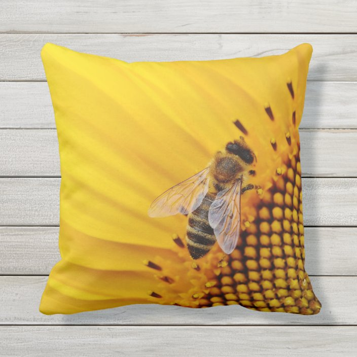 sunflower and bee yellow outdoor pillow zazzle com