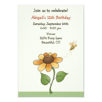 Sunflower Birthday Invitation for Girls