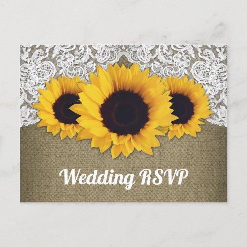Sunflower Burlap and Lace Wedding RSVP Postcards