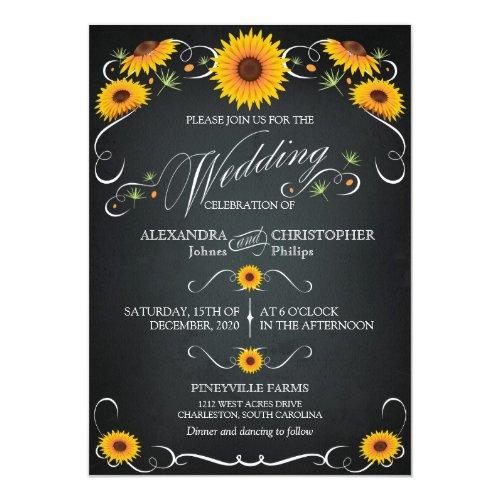 Sunflower Chalkboard Floral Vintage Bold Wedding Invitation