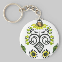 Sunflower Folk Pattern by Alexandra Cook keychains