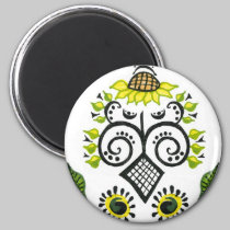 Sunflower Folk Pattern by Alexandra Cook magnets