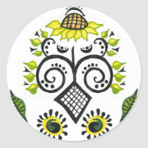 Sunflower Folk Pattern by Alexandra Cook stickers