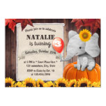 Sunflower Girl Elephant Autumn Pumpkin Birthday Invitation
