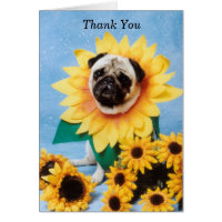 Sunflower Pug Thank You Card