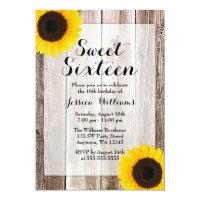 Sunflower Rustic Barn Wood Sweet 16 Card