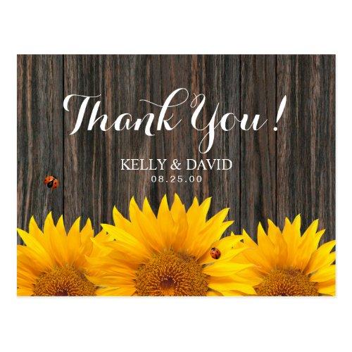 Sunflower Wedding Thank You Ladybug Barn Wood Postcard