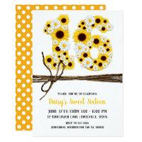 Sunflowers & Daisies SIXTEEN 16 Birthday Party Card