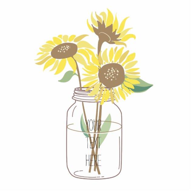 sunflowers in mason jar statuette