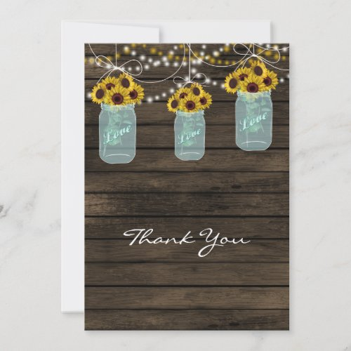 sunflowers mason jar bridal shower thank you cards