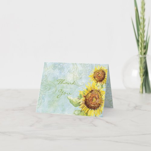 Sunflowers &#39&#x3B;n Swirls, Wedding Thank You Note Cards