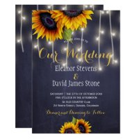 Sunflowers navy chalkboard fall trendy wedding invitation ...